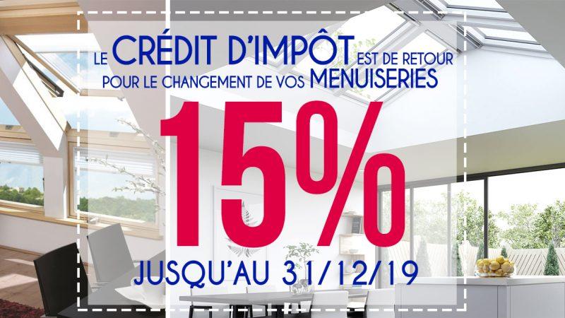 Crédit d'impôt 15% sur les menuiseries